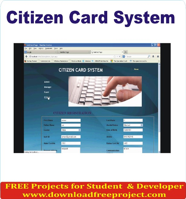 Citizen Card System, Free Citizen Card System In Java Projects Download