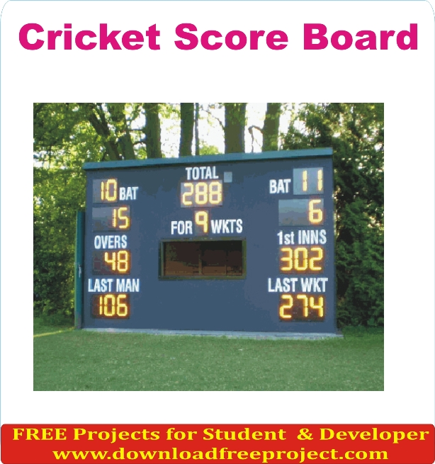 Free Cricket Score Board System In PHP Projects Download