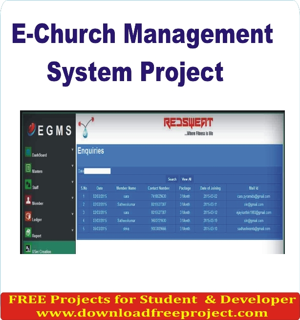 Free E Church Management System Project In PHP Projects Download