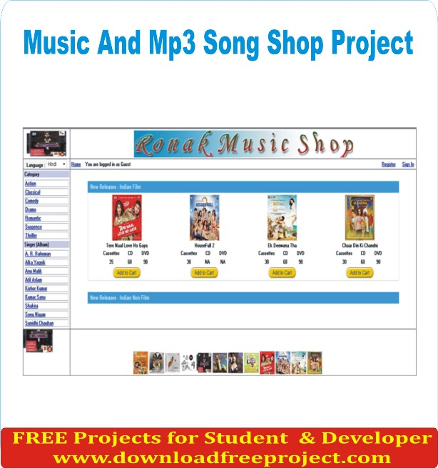 Free Music And Mp3 Song Shop In Asp.Net Projects Download