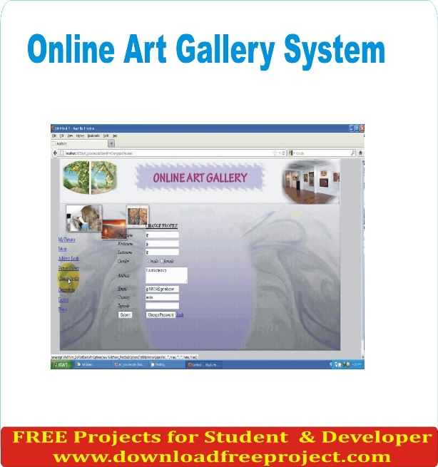 Free Online Art Gallery In PHP Projects Download