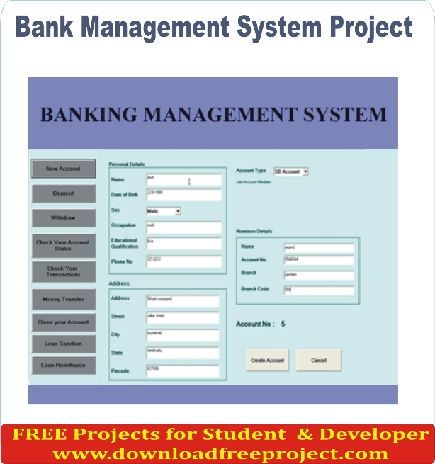 Free Online Bank Management System In Asp.Net Projects Download