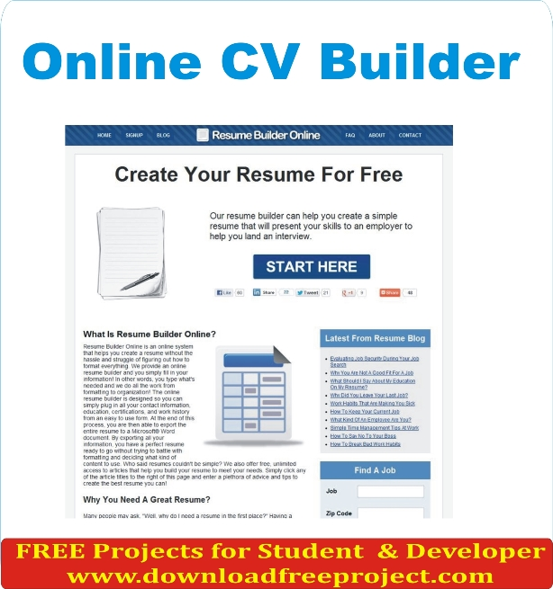 Free Online CV Builder In Asp.Net Projects Download