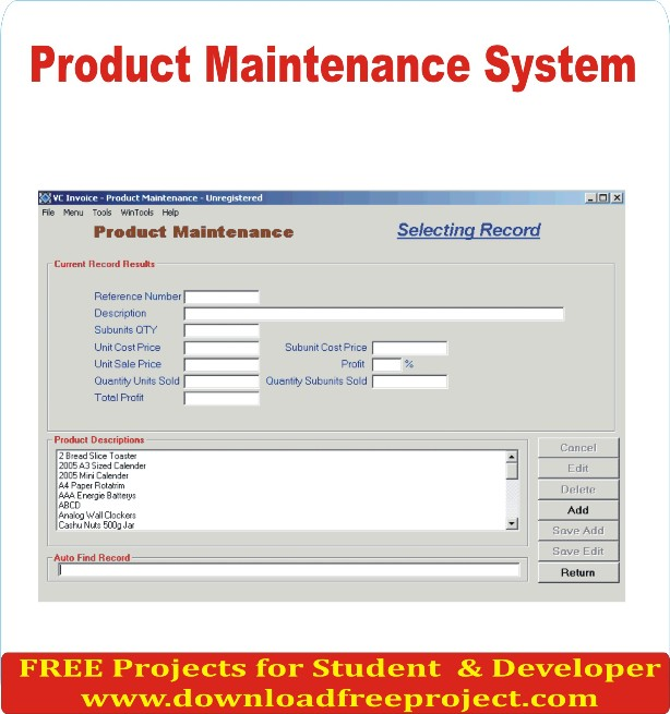 Free Product Maintenance System In Asp.Net Projects Download