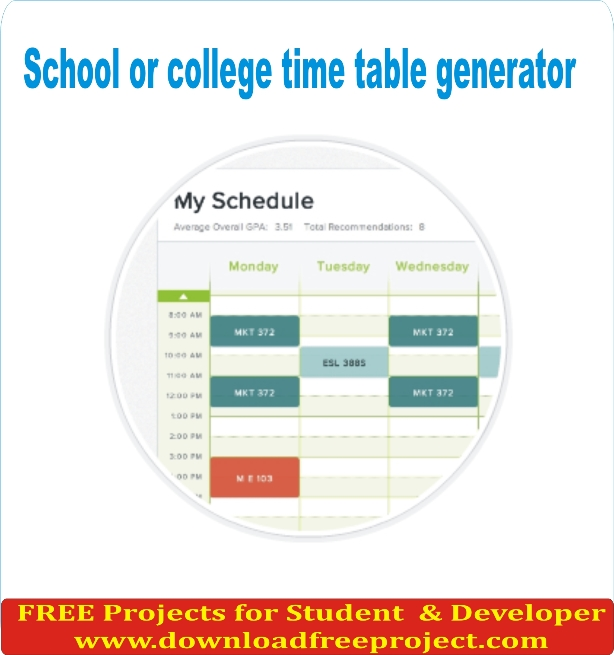 Free School or college time table generator In Asp.Net Projects Download